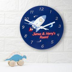 Personalised Space Rocket Bedroom Clock