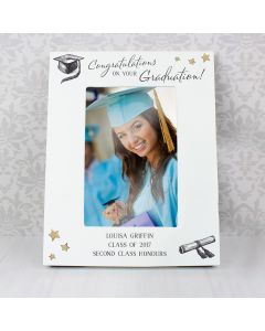 Personalised Gold Star Graduation White Wooden Photo Frame 6x4