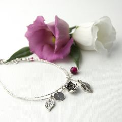 Personalised English Rose Bracelet With Indian Ruby Stones