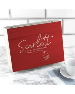 Personalised Name Red Tea Box