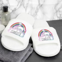 Personalised Unicorn Design Velour Slippers