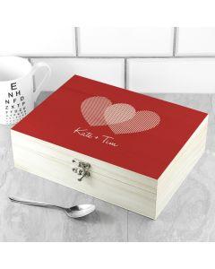 Personalised 2 Hearts Tea Box