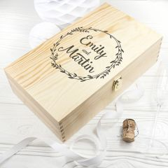 Personalised Wreath With Couples Name Double Wine Box
