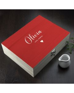 Personalised Message Red Wooden Tea Box