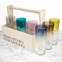 Personalised 6 Coloured Cocktail Highball Glasses & Trug
