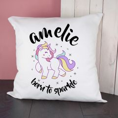 Personalised Born To Sparkle Unicorn Cushion Cover