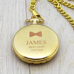 Personalised Bow Tie Icon Gold Finish Pocket Watch