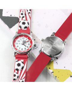 Personalised Childrens Red Football Watch