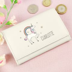 Personalised Unicorn Design Cream Purse