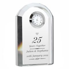 Personalised Crystal Silver Wedding Anniversary Clock