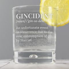 Personalised Gincident Tumbler Bubble Bottom Glass