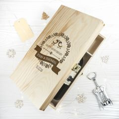 Personalised Happy Anniversary Double Wine Box with Love Birds
