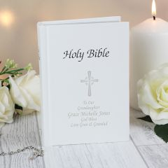 Personalised Holy Bible with Silver Leaf Edge Pages