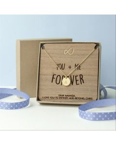 Personalised Infinity Necklace & Walnut Wood Keepsake