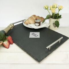 Personalised Initial Slate Tray with Stainless Steel Handles