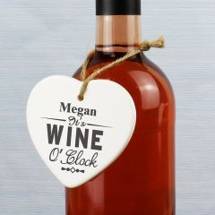 Personalised It's Wine O'clock Ceramic Heart Decoration