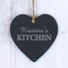 Personalised Kitchen Small Slate Heart Keepsake