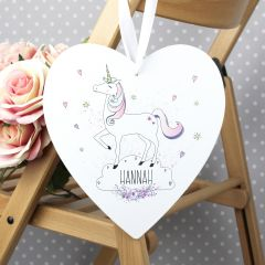 Personalised Unicorn Design Large Wooden Heart Decoration 22cm