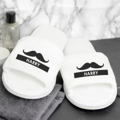 Personalised Moustache White Velour Slippers