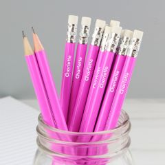 Personalised Name Pink Pencils Set