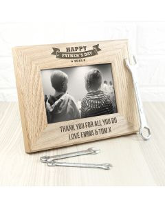 Personalised Oak Fathers Day Photo Frame