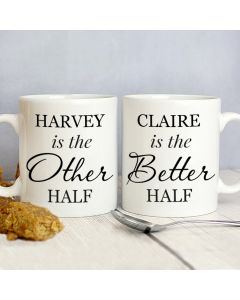 Personalised Other Half and Better Half Mug Gift Set