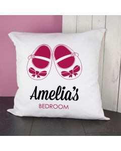 Personalised Pink Baby Shoes Cushion Cover