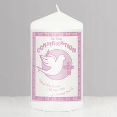 Personalised Confirmation Candle Pink Keepsake