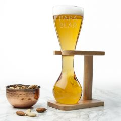 Personalised Quarter Yard Ale Glass & Wooden Stand