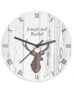 Personalised Highland Stag Design Shabby Chic Wooden Clock