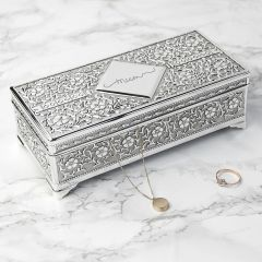 Personalised Antique Design Silver Jewellery Box