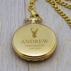 Personalised Stag Icon Gold Finish Pocket Watch