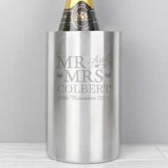 Personalised Stainless Steel Mr & Mrs Wine Cooler
