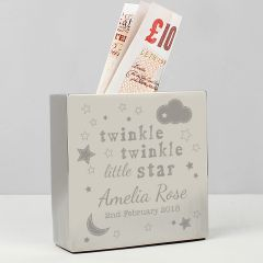 Personalised Twinkle Twinkle Square Design Money Box