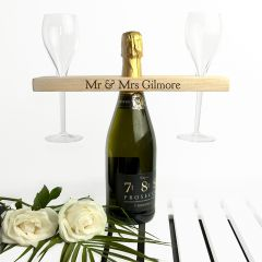 Personalised Wooden Champagne Bottle & Glasses Holder
