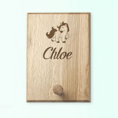 Personalised Wooden Engraved Unicorn Peg Hook