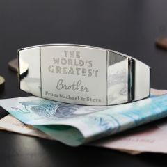 Personalised 'World's Greatest' Silver Finish Money Clip