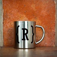 Monogram Swirl Bracket Silver Outdoor Mug