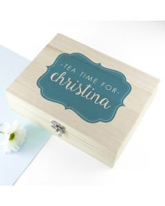 Personalised Time For Tea Wooden Tea Box in 4 Colours