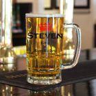 Personalised King of Beer Bellies Glass Tankard
