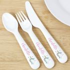 Personalised Baby Unicorn Plastic Cutlery Set