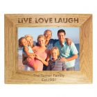 Personalised Live Love Laugh Landscape Wooden Photo Frame 7x5